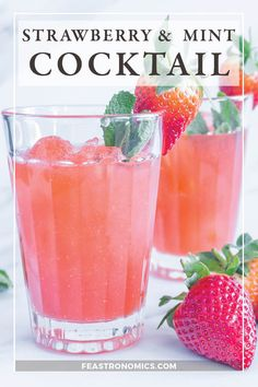 Looking for a delicious vodka cocktail recipe? Try this refreshing and pretty strawberry and mint vodka cocktail - fruity, light and super easy to create at home. vodka cocktail I Summer cocktail I Easy vodka cocktail I strawberry cocktail I Pink cocktail Best Vodka Cocktails, Strawberry Cocktails, Gin Cocktail Recipes, Coctails Recipes, Drink Recipes, Summer Cocktails, Vegan Recipes, Pink Vodka, Mint