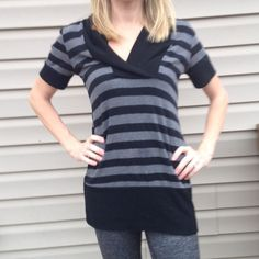 Black and gray striped sweater Very soft and drapey sweater in GUC. Some pilling but not very noticeable. Bum covering. Looks great with leggings. Rayon/polyester/spandex blend. Thanks for looking. Roseme Sweaters