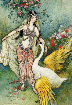 """vintagegal:  """"Leda and the Swan"""" Illustration by Warwick Goble"""