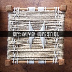 DIY woven rope stool made from a thrift store stool, using sisal rope and clothesline from The Home Depot.