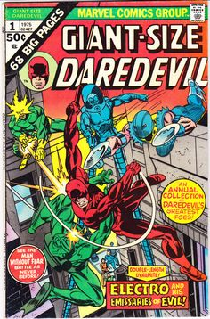 Giant Size Daredevil 1 comic book. Matt Murdock 1975 VF Electro Gladiator