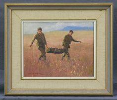WAITE, Allan (b.1924) 'Ammo Carriers, Singleton' Oil on Bo