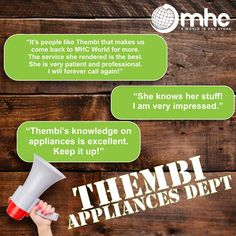 Visit our Appliance Department and meet Thembi. 700 Watt Microwave, Fold In Half Table, Chest Freezer, Metal Baskets, Energy Consumption, White Paneling, Cooking Utensils, Home Kitchens, Freezer