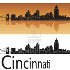 Cincinnati skyline in orange background in editable vector file Stock Photo - 18023372