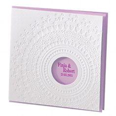 """Hochzeitseinladung """"Nelly"""" - Romantische Einladungskarte zur Hochzeit mit weißer Außenkarte mit Ornamenten und runder Ausstanzung, sowie fliederfarbener Innenkarte"""