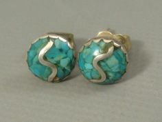 Vintage 1960's ZUNI Old Pawn STERLING SILVER Inlaid Turquoise STUD/POST Earrings #ZuniOldPawn