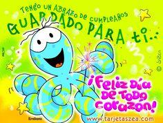 Abrazo especial-Tarjeta de cumpleaños-pulpo© ZEA www.tarjetaszea.com