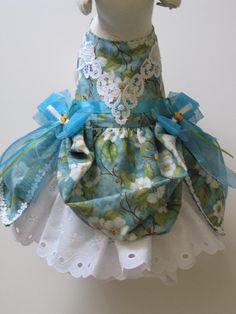 Dog Dress Hat & Leash Set  Teal Floral by FantasyPupFashions, $52.00