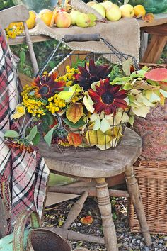 The use of the old chair in an outdoor vignette - have one, have the components to do this by the side door! Vibeke Design, Fall Vignettes, Autumn Scenery, Autumn Crafts, Gardening, Fall Table, Autumn Garden, Autumn Day, Fall Harvest