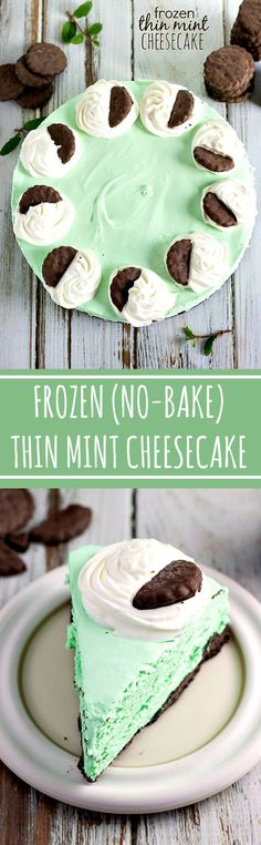 Frozen {No-Bake} Thin Mint Cheesecake Recipe via Chelsea's Messy Apron - 10 minutes prep to have this gorgeous and DELICIOUS THIN MINT Cheesecake -- no baking required!