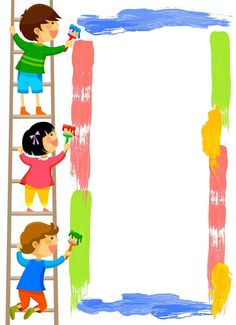 Illustration of kids standing on a ladder and painting a colorful frame vector art, clipart and stock vectors.