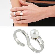 Latest Design S Shape Women Double Finger Ring