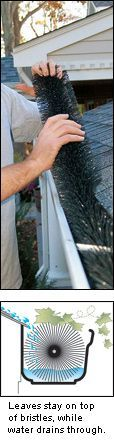 """Gutter Brush $39.50 This is one of the simplest methods for keeping your eavestroughs and downspouts clear. Slipped into standard 5"""" wide eavestroughs, it stays firmly in place to block leaves and debris from accumulating in gutters and downspouts, but is hidden from ground-level view. While leaves stay on top of the stiff bristles, water drains through easily. Annual clean-up of gutters is easy—remove the brush and shake it out."""