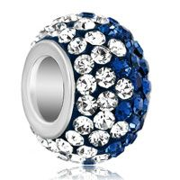Silver Plated Clear Blue Rhinestone Crystal Ball Beads Charms Bracelets Fit All Brands
