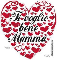 Festa della mamma Happy Family, Le Point, Cross Stitches, Hand Embroidery, Punto De Cruz, Hearts, Cross Stitch, Fantasy, Seed Stitch