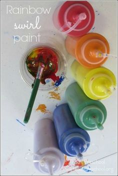 Rainbow swirl paint by Teach Preschool