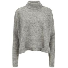 Designers Remix Women's Fino Neck Turtle Neck Sweatshirt with Side... (£80) ❤ liked on Polyvore featuring tops, sweaters, shirts, jumpers, grey, side slit top, turtle neck tops, loose shirts, grey turtleneck and grey shirt