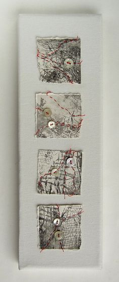 Red thread on collagraph by Helen Smith - Fragments of torn collagraph prints stitched with red thread and vintage shirt buttons https://thiscraftinglife.blogspot.com/2011/11/red-threads.html https://www.flickr.com/photos/hmsdesign/with/6344129504/