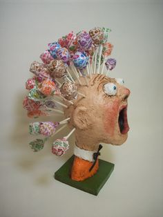 Primitive Paper Mache Folk Art Lollipop by papiermoonprimitives