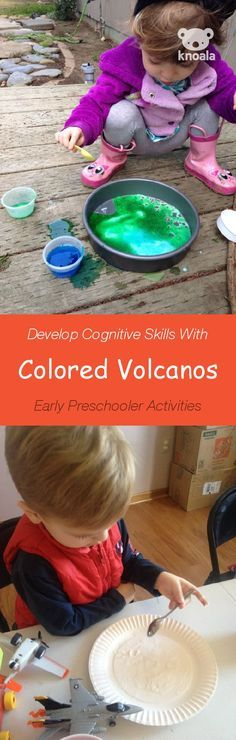 Knoala Early Preschooler Activity: 'Colored Volcanos' helps little ones develop Cognitive, Motor and Sensory skills. Click for simple instructions & more fun, easy, no-prep activities for kids ages 0-5! #activities #Knoala *too cool