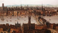 Elizabethan London-A view of the city of London including London Bridge and St Paul's