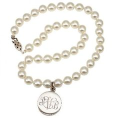 Monogrammed Pearl and Sterling Silver Necklace-would love this in a bracelet
