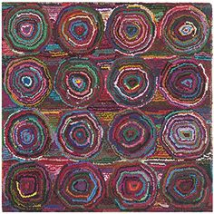 Safavieh Nantucket Collection NAN143A Handmade Abstract Geometric Pink and Multi Cotton Square Area Rug 6 Square * Read more  at the image link.