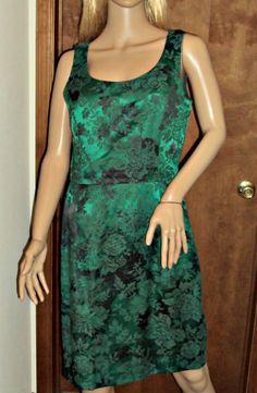 Sheath Vtg Holiday Dress Jacket Set Green Damask Ursula of Switzerland Sz 10 USA #UrsulaofSwitzerland #Sheath #Cocktail