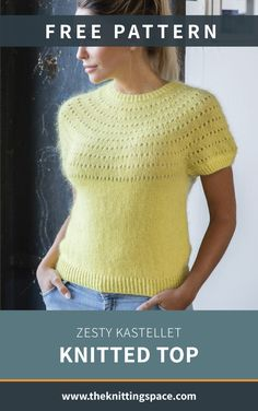 Zesty Kastellet Knitted Top [FREE Knitting Pattern] - Craft this simple yet chic knitted top perfect to be worn alone on hot summer days or as a layering - Free Knitting Patterns For Women, Sweater Knitting Patterns, Crochet Patterns For Beginners, Knit Patterns, Formal Winter Outfits, Hot Fall Outfits, Top Pattern, Free Pattern, Summer Knitting