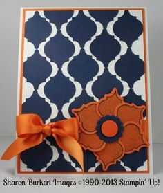 handmade card ... Mosaic punch ... navy and rust combine in tiled design ... luv the flower made of Mosaic punch petals ... Stampin' Up!
