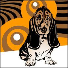 Basset-Hound 3 x Pop Art - Retro Bild 70er Lounge Hunde   eBay