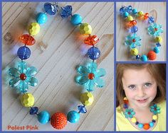 Blue Daisy Chunky Little Girls Necklace by PalestPink on Etsy, $25.00