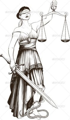 Buy Symbol of Justice Femida by sharpner on GraphicRiver. Symbol of justice Femida blindfolded weights at arm length and sharp sword. Law Tattoo, Libra Tattoo, Symbole Justice, Scales Of Justice Tattoo, Justice Symbol, Greek Mythology Tattoos, Satirical Illustrations, Rome Antique, Lady Justice