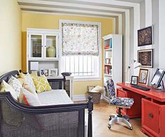 In this office/guest room, a daybed saves on space while still providing a place for guests to sleep: http://www.bhg.com/decorating/small-spaces/apartments/style-in-a-small-space/?socsrc=bhgpin092414multitaskingspace&page=7