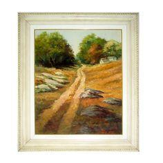 """GIOVANNA TOSCANO. """"Caminho"""", óleo s/tela, 50 x 60 cm. Assinado frente/verso, 2008. Moldura 7"""
