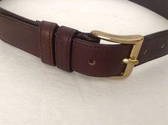Coach Men's Brown Leather Belt Brass Buckle Size 30 #Coach