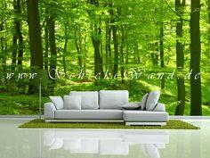Stilvolle Wanddekoration mit Waldmotiv als Fototapete im Wohnzimmer - www.schickewand.de