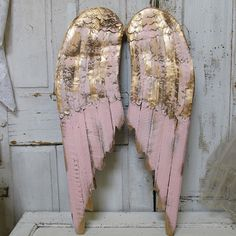 Wooden Angel Wings Wall Decor large metal angel wings wall decor, distressed gold, ivory