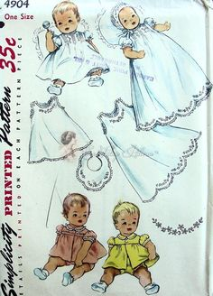 1950s Beautiful Infants Babies Layette and Embroidery Transfer Pattern Dainty Pintucked Christening Gown Simplicity 4904 Vintage Sewing Pattern  One Size UNCUT