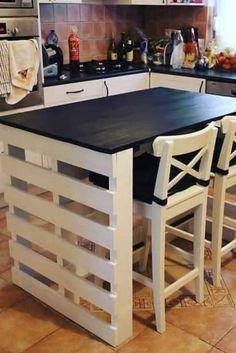Asian Home Decor, European Home Decor, Cheap Home Decor, Diy Pallet Furniture, Diy Furniture Projects, Furniture Design, Pallet Kitchen Island, Kitchen Decor, Kitchen Design