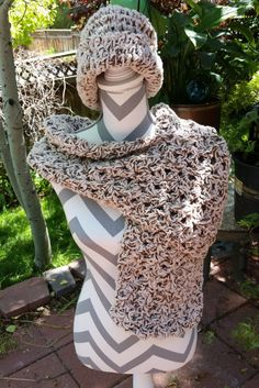 Woman's Chenille Crochet Scarf and hat set. Cream and brown hat and Scarf Combo by DesignedbyBrendaH on Etsy