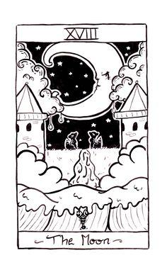 the moon tarot card illustration by arkolina