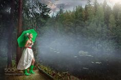 A bride in green gum-boots by Usanin
