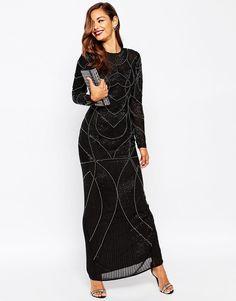 ASOS RED CARPET Delicate 20s Beaded Long Sleeve Maxi Dress in Black UK 18/EU 46   eBay