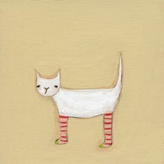 Awesome original artwork by Marisa at Creative Thursday. I Love Cats, Crazy Cats, Children's Book Illustration, Cat Illustrations, Here Kitty Kitty, Whimsical Art, Cat Art, Kitsch, Bunt