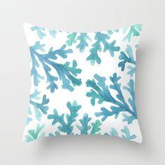 Blue Ombre Coral Watercolor Throw Pillow | Hello Monday Design | Beach House | Beach Home Decor | Beachy | Coastal Home Decor | Seashore | Tropical Art | Beach Throw Pillow