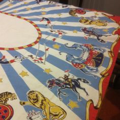 Vintage looking tablecloth. Actually from Restoration Hardware a few years ago.  Possible to find on eBay.