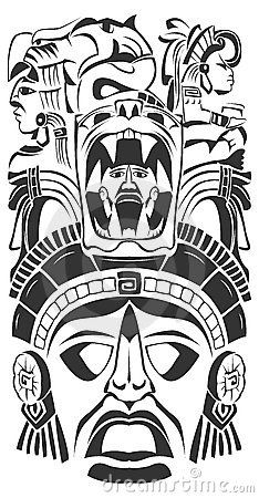 Stock Images Ancient Ceremony Mask  Mayan Aztec Vector