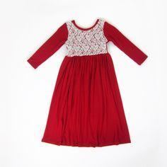 69cc3af93a3c69 Girls Red Cream Lace Maxi Dress. Cute Maxi Dress, Lace Maxi, Lace Overlay. Liberty  Lark