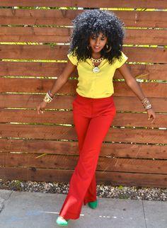 Style Pantry | Neon Yellow Epaulette + Fire Red Wideleg Pants